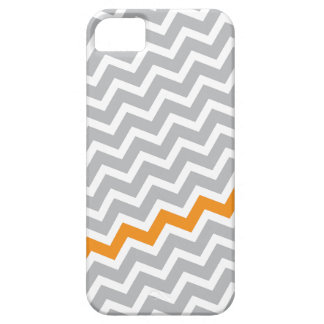 Orange stripe gray diagonal chevron zigzag pattern iPhone 5 case