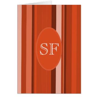 Orange Stripe Monogram Card