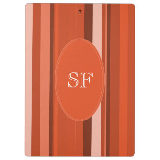 Orange Stripe Monogram Clipboard