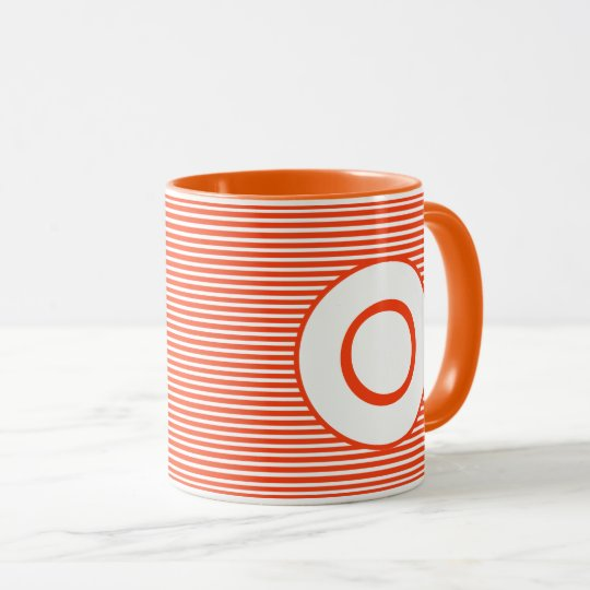 Orange Stripe Monogram Mug