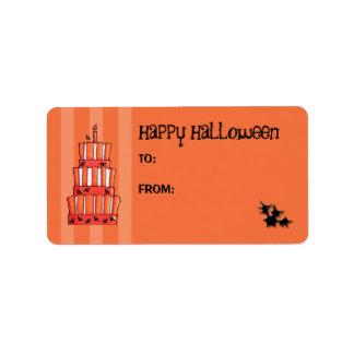 Orange Striped bats Cake Gift Tag Address Label