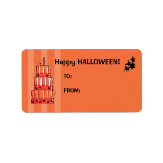 Orange Striped bats Cake Gift Tag Label Address Label