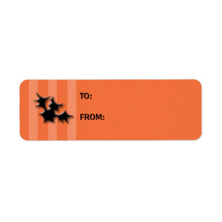Orange Striped bats Cake Gift Tag Label Return Address Label