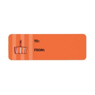 Orange Striped Cake Gift Tag Label Return Address Label