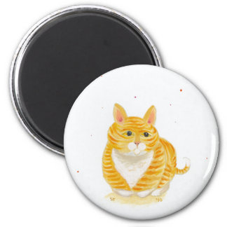 Orange striped cat sitting on her feet fun art refrigerator magnets
