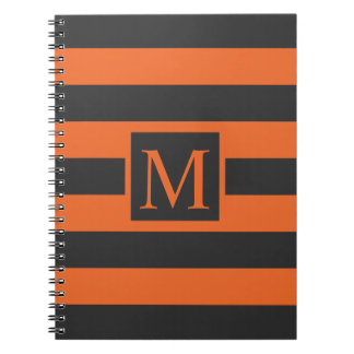 Orange Stripes Halloween Monogram | Guestbook Notebook