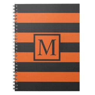 Orange Stripes Halloween Monogram   Guestbook Notebooks