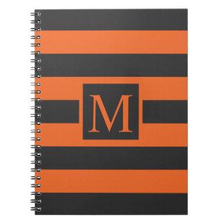 Orange Stripes Halloween Monogram   Guestbook Spiral Notebook