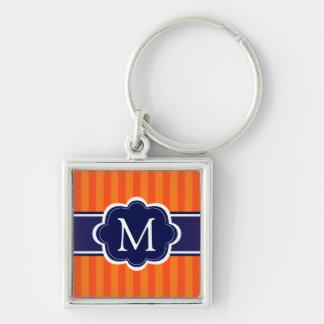 Orange Stripes Navy Blue Custom Monogram Initial Keychain