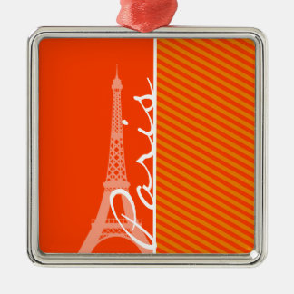 Orange Stripes; Paris Christmas Tree Ornament