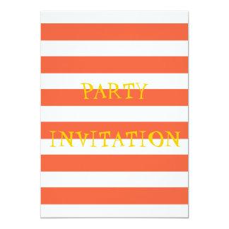"""Orange Stripes Party Invitation 5"""" X 7"""" Invitation Card"""
