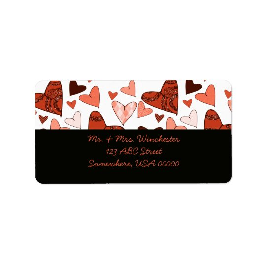 Orange Stylised Hearts Address Label