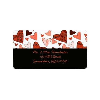 Orange Stylised Hearts Label