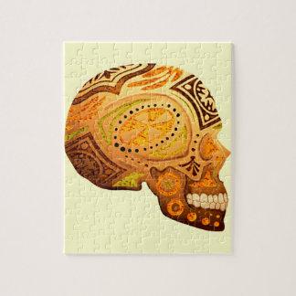Orange Sugar Skull Skeleton - Desert Colors Puzzle