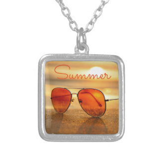 Orange Summer Beach Holiday Sunglasses Silver Plated Necklace