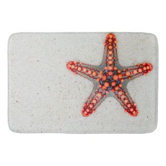 ORANGE SUMMER STARFISH ON BEACH SAND BATH MATS