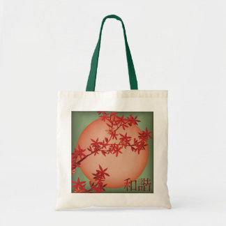 "Orange sun and blooming tree ""Harmony"" tote bag"
