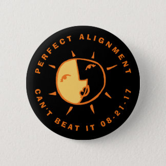 Orange Sun and Moon Eclipse Perfect Alignment 6 Cm Round Badge