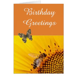 Orange Sunflower And  Butterfly Birthday Card