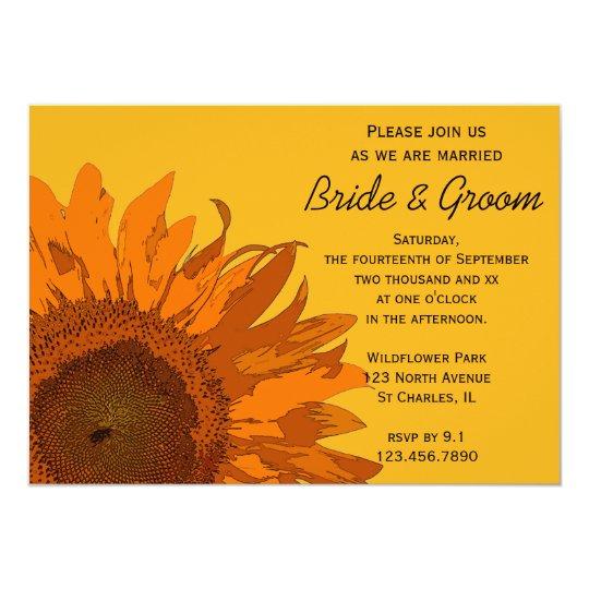 Orange Sunflower on Yellow Wedding Invitation