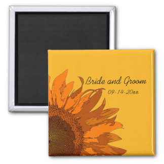 Orange Sunflower on Yellow Wedding Magnet