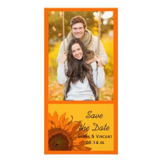 Orange Sunflower on Yellow Wedding Save the Date Personalised Photo Card