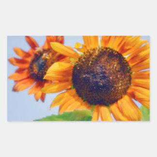 Orange Sunflowers Rectangular Sticker