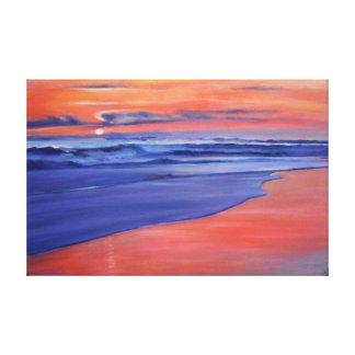 Orange Sunset Beach Canvas Print