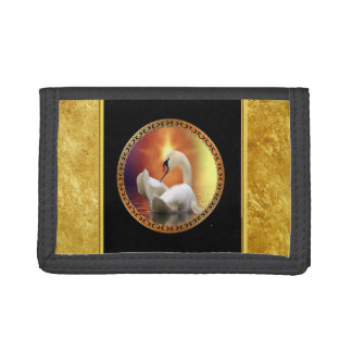 Orange sunset behind a White Swan with gold foil Trifold Wallet