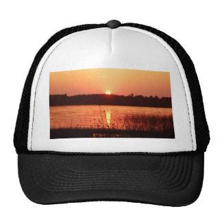 Orange Sunset on the lake Hats