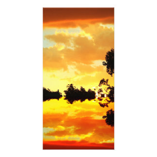 Orange Sunset Reflected in Lake Trees Silhouetted Picture Card