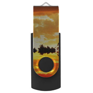 Orange Sunset Reflected in Lake Trees Silhouetted Swivel USB 2.0 Flash Drive