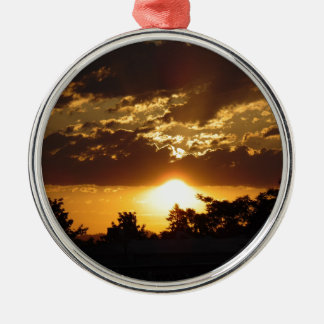Orange Sunset Silver-Colored Round Decoration