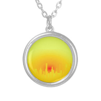 Orange Sunset Silver Plated Necklace