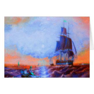 Orange sunset sky boats greeting card