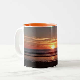 Orange sunset summer sunny seaside view Two-Tone coffee mug
