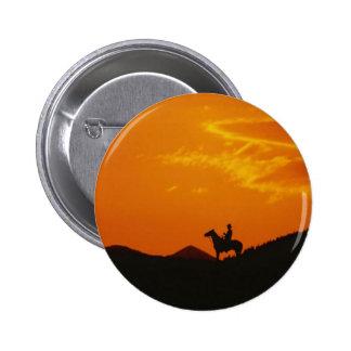 Orange Sunset with Cowboy Silhouette 6 Cm Round Badge
