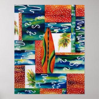 Orange Surfboard Poster