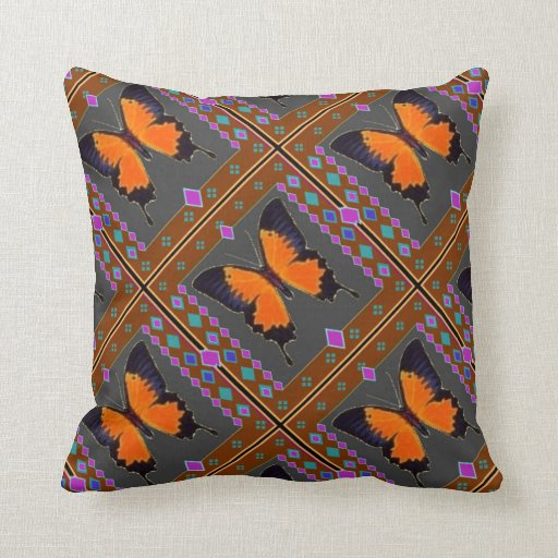 ORANGE SWALLOW TAIL BUTTERFLY BY SHARLES THROW PILLOWS