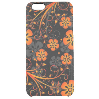 orange swirl flowers and lines art clear iPhone 6 plus case