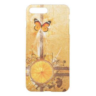 orange swirl flowers butterfly lines art iPhone 7 plus case