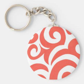 Orange Swirls Basic Round Button Key Ring