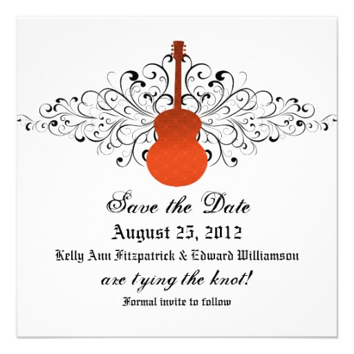 Orange Swirls Guitar Save the Date Invite