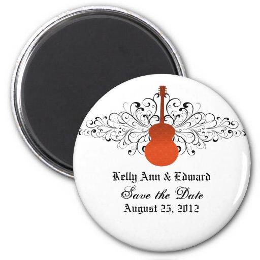 Orange Swirls Guitar Save the Date Magnet