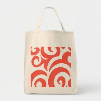 Orange Swirls Grocery Tote Bag