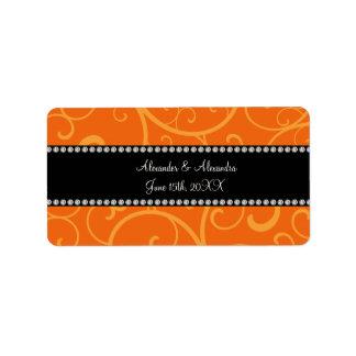 Orange swirls wedding favors address label