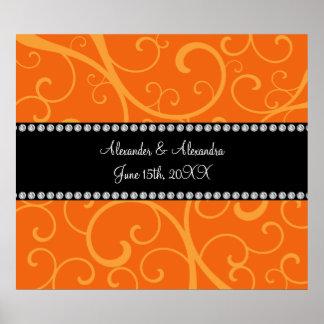 Orange swirls wedding favors poster