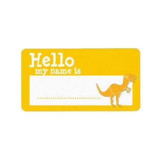 Orange T-Rex Hello My Name is Badge Name Badge Address Label