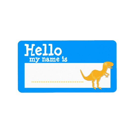 Orange T-Rex Hello My Name is Name Badge Blue Label