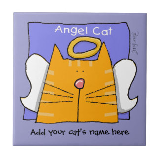 Orange Tabby Cat Angel Personalize Small Square Tile